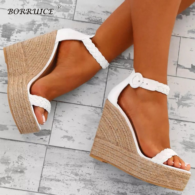 BORRUICE Summer Fashion Super High Heel Waterproof Platform Buckle With Sandals 34-43High Heel Large Size Wedges Shoes For Women stylesowner fashion women rivets pearl platform wedges flower sandals buckle metal high heel ladies sandals summer platform shoe