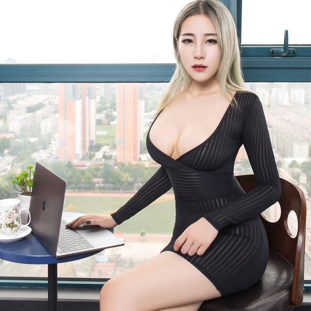 New Sexy Women Tight Pencil Cute Dress See Through Straight Micro Mini Dress Transparent Night Club Fantasy Erotic Wear FX1020 1