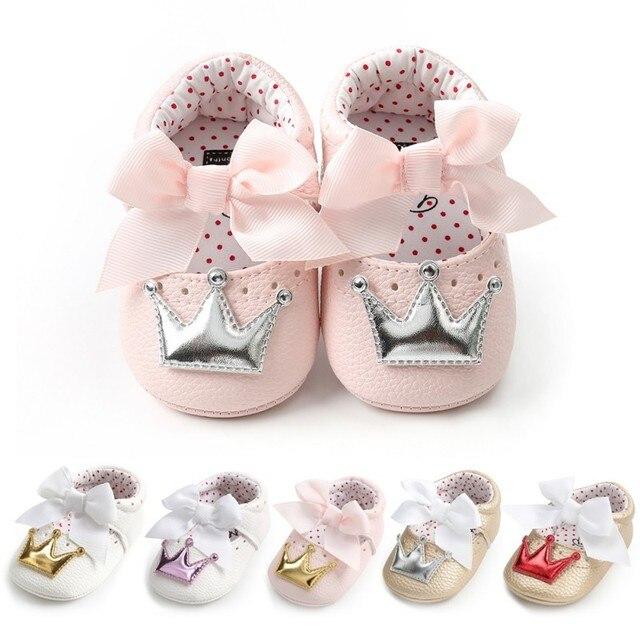Pu 아기 신발 신생아 활 아기 소녀 신발 패션 크라운 공주 첫 워커 아기 소녀 신발