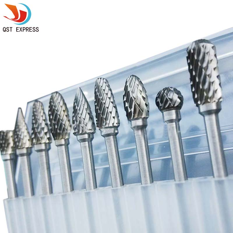 "New 10pc 1/8"" Shank Tungsten Carbide Milling Cutter Rotary Tool Burr Double Diamond Cut Rotary Dremel Tools Electric Grinding"