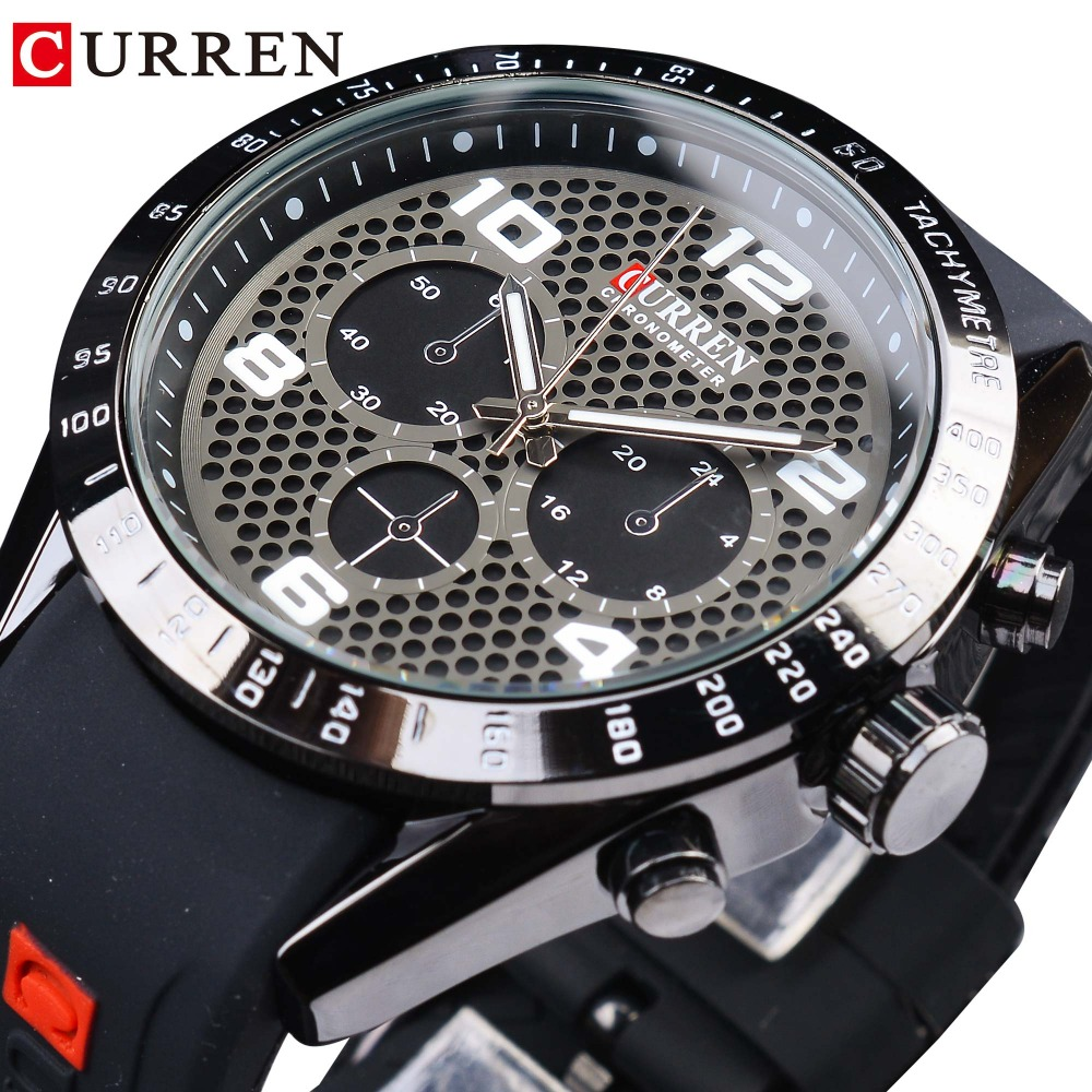 CURREN Rubber Band Sport Racing Design Waterproof Luminous Hands Mens Quartz Wrist Watches Top Brand Luxury Military Male Clock