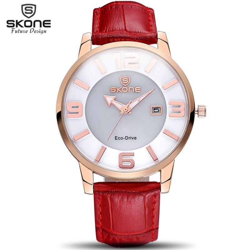 SKONE Solar Power Eco Drive Quartz Watches Women Luxury Brand Fashion Genuine Leather Strap Watch Clock Woman Relogio Feminino недорго, оригинальная цена
