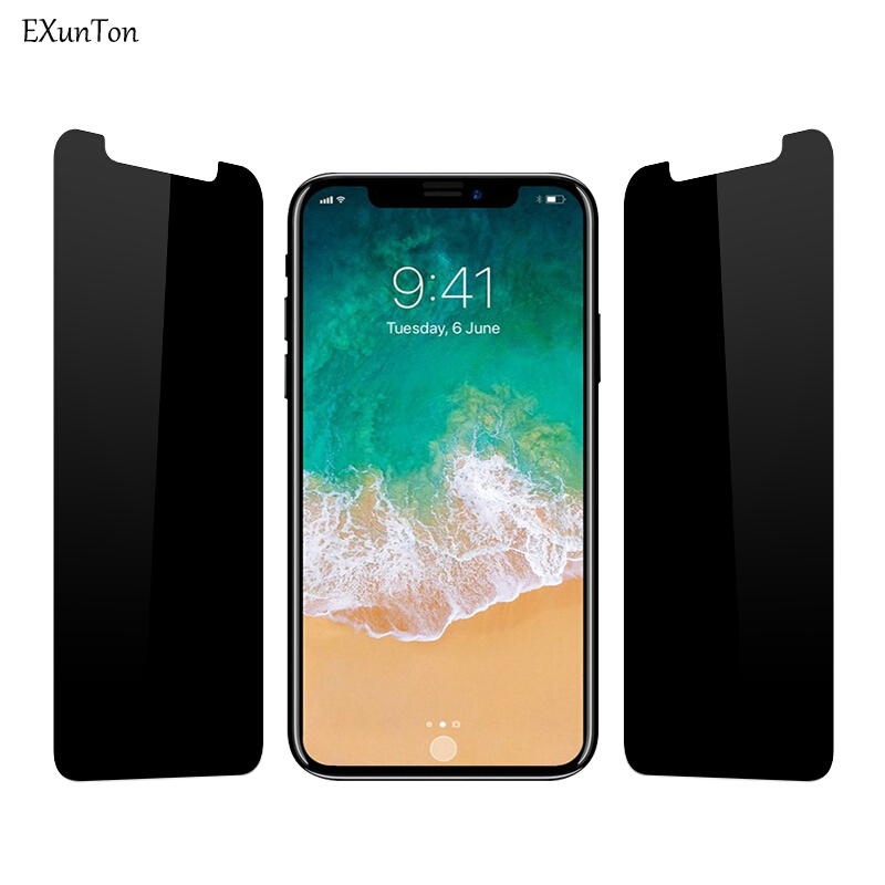 EXUNTON 2.5D Privacy Black Screen Protector For Apple iPhone X 7 8 PLus 7Plus 8Plus Anti Spy Tempered Glass Protective FilmEXUNTON 2.5D Privacy Black Screen Protector For Apple iPhone X 7 8 PLus 7Plus 8Plus Anti Spy Tempered Glass Protective Film
