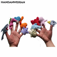 10PCS/LOTS Marine Animal Plush finger puppets Marine Animal hand puppets for kids  Puzzle Early Childhood  Appliances Plush Toys living puppets кролик