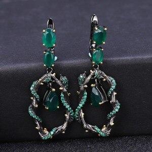 Image 3 - GEMS BALLET Conjunto de joyería Vintage de piedra Ágata verde Natural para mujer, juegos de pendientes de anillo hechos a mano de Plata de Ley 925