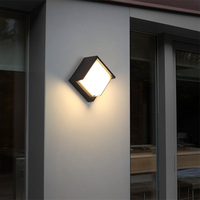 Outdoor Waterproof IP65 Led Wall Light Black Round Square Aluminum Acrylic Sconce Lamp Luminaire for Exterior Terrace Garden