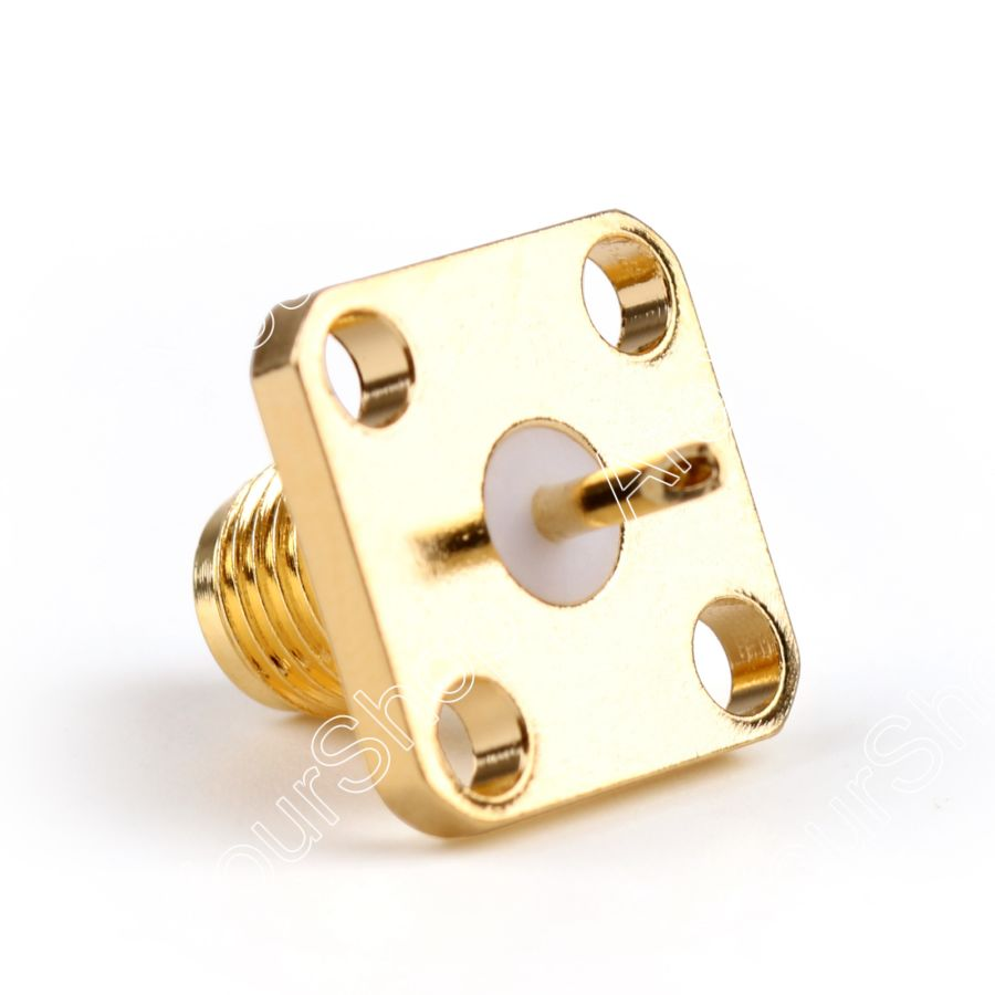 Areyourshop Sale 10Pcs SMA Female Jack Chassis 4Hole Panel Mount Post Terminal RF Coax Connector 5mm