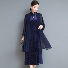 Warm Velvet dress women plus size midi party dresses 2 piece set cardigan navy blue Chinese elegant vintage clothes 2019 spring
