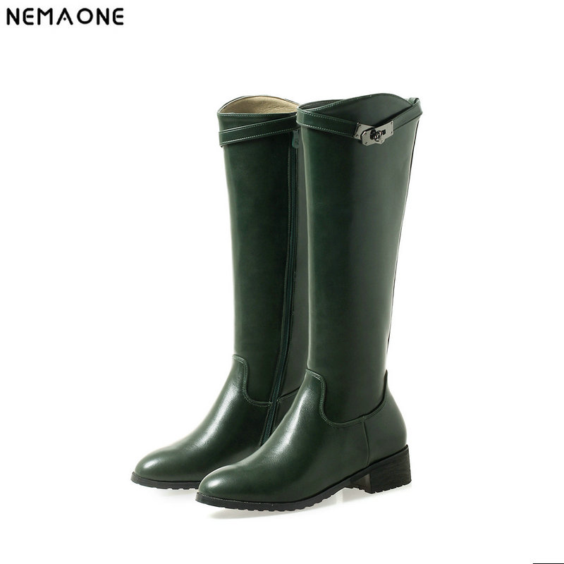 New low heels knee high western boots woman winter warm women boots green white black casual shoes woman large size 42 43 new women sexy lace up knee high boots high square heels women boots winter snow boots casual shoes woman large size 34 46