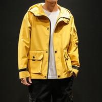 Men's Jacket Yellow Hooded Spring Coat Jacket Men Arm Pocket Safari Style Outerwear 2019 New Arrival Fashion Mens Windbreaker
