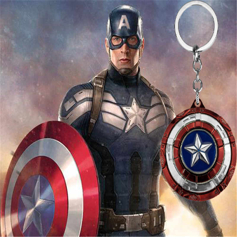 Movies The Avengers 4 Captain America Keychain Super Hero Classic Star Shield Pendant Rotatable Pendant Gift For Men