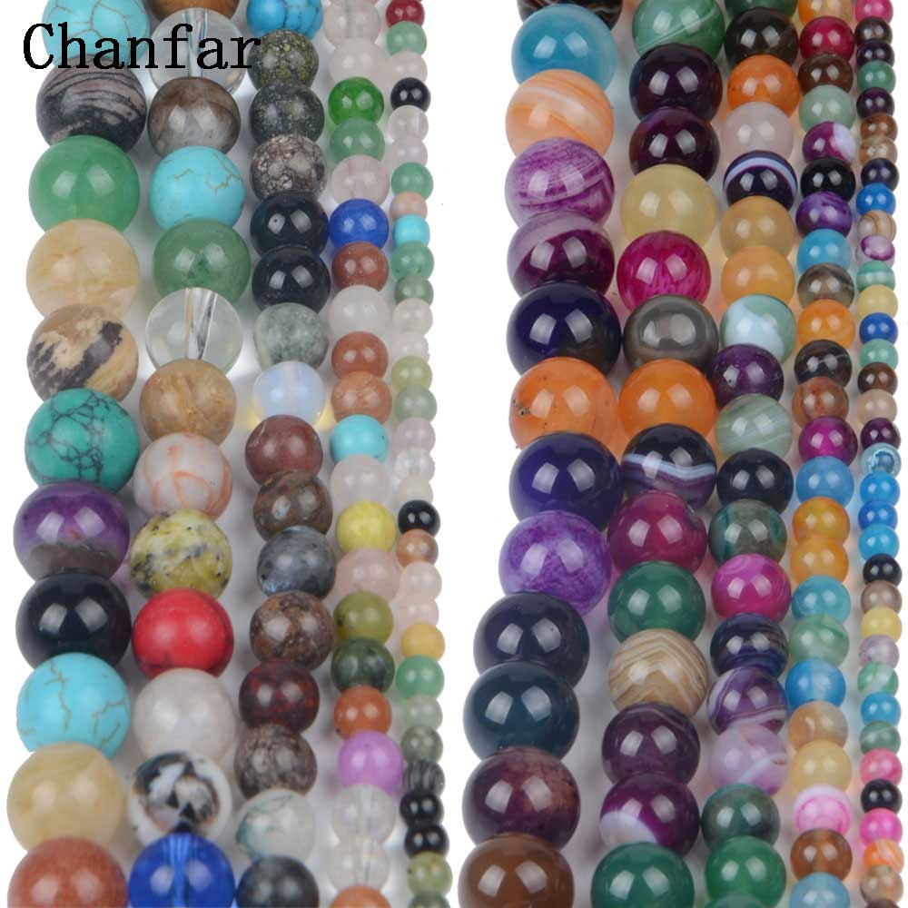 Natural Mix Stone Banded stone Women Jewelry Fashion Making Loose Beads 4 6 8 10 12mm