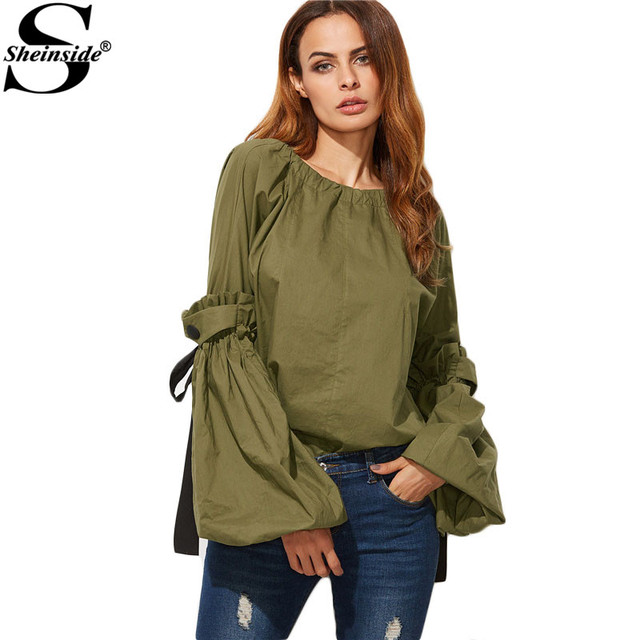 Sheinside Women Formal Shirts Elegant Tops Ladies Office Shirts Olive Green Contrast Drawstring Detail Lantern Sleeve Blouse