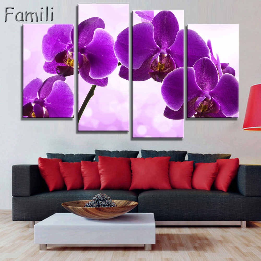 Print poster canvas Wall Art orchids Decoration art oil painting Modular pictures on the wall sitting room cuadros(no frame)4pcs