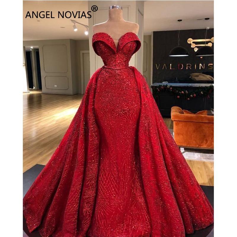 ANGEL NOVIAS Long Mermaid Red Abendkleider Arabic Elegant   Evening     Dress   2018 Vestido Sirena Largo with Detachable Skirt