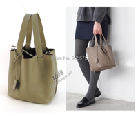 Women Genuine Leather Tote Bag Shopper Cabas Handbag Purse Shopping Hobo Basket Real Leather Designer H