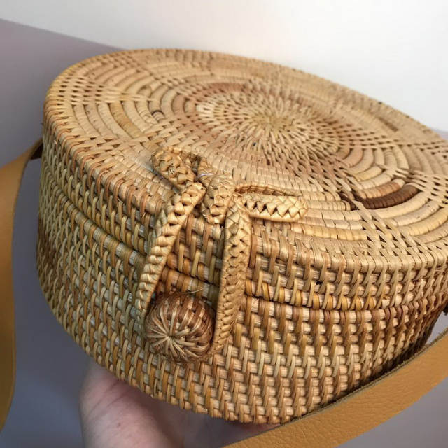 Online Shop Highreal Straw Bags Circle Rattan Bag Beach Bag Women