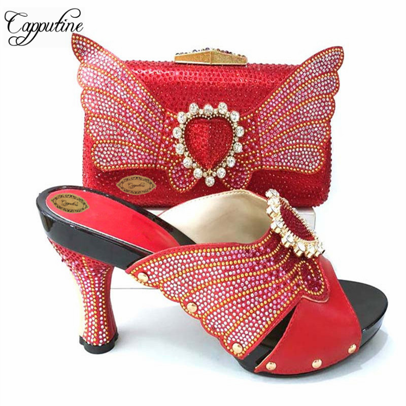 New Arrival Pretty Rhinestone Shoes And Butterfly Bag Set 2018 Italian Style High Heels Shoes And Bag Set For Wedding TX-652New Arrival Pretty Rhinestone Shoes And Butterfly Bag Set 2018 Italian Style High Heels Shoes And Bag Set For Wedding TX-652