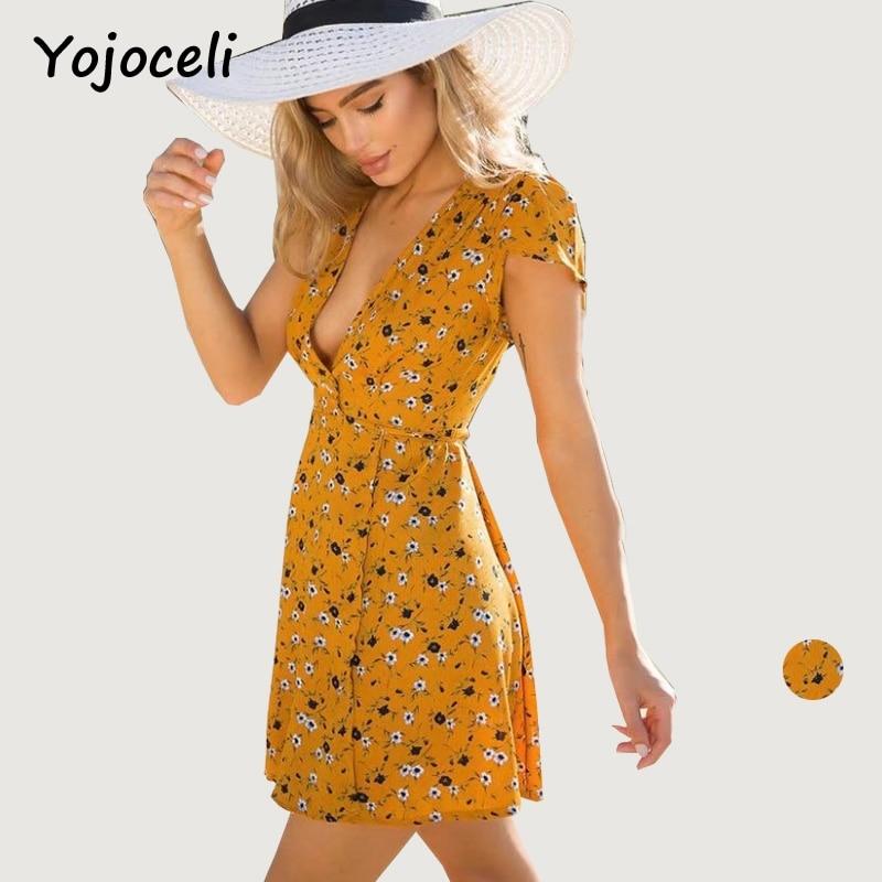 Yojoceli cute floral print beach dress women short sleeve ...