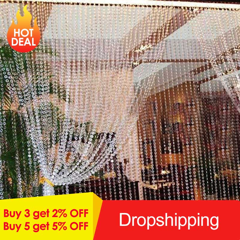 New 30M Beads Curtains Acrylic Crystal Curtain Octagonal Bead Curtains On The Door Festive Party Indoor Home Wedding Decoration