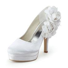 talones wedding spring autumn women's round toe party banquet flower satin wedding heels thin heel pumps stilettos RR-71