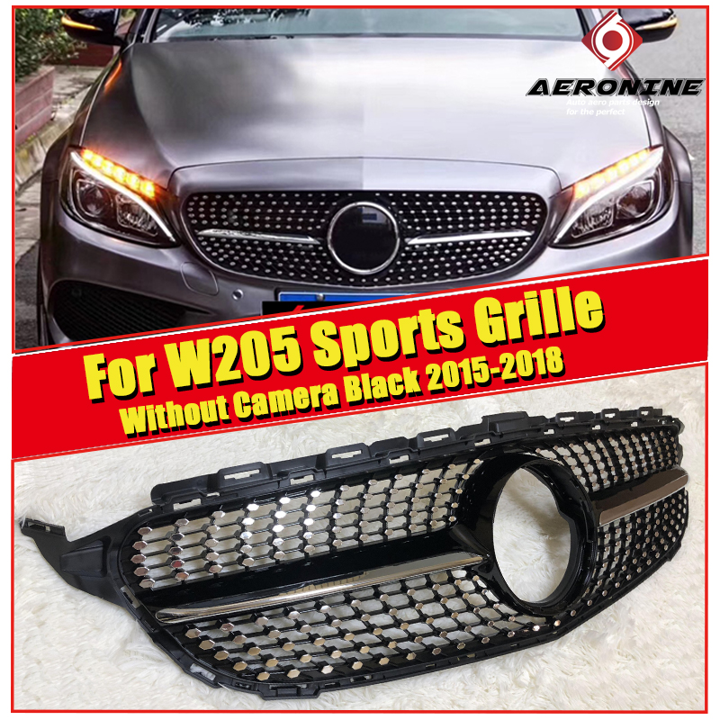 Diamond grille W205 C180 C200 C300 C350 C-Class Grille ABS Black without Camera For MercedesMB Sports Front Mesh 15-