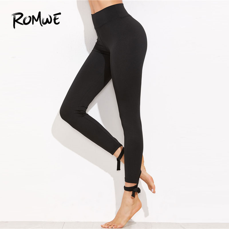 c9e9a4f6ab7da8 Romwe Ladies Lace Up Hem Leggings 2018 New Arrival Black Knot Woman Bottoms  Capris Plain Stretchy Yoga Pants-in Yoga Pants from Sports & Entertainment  on ...