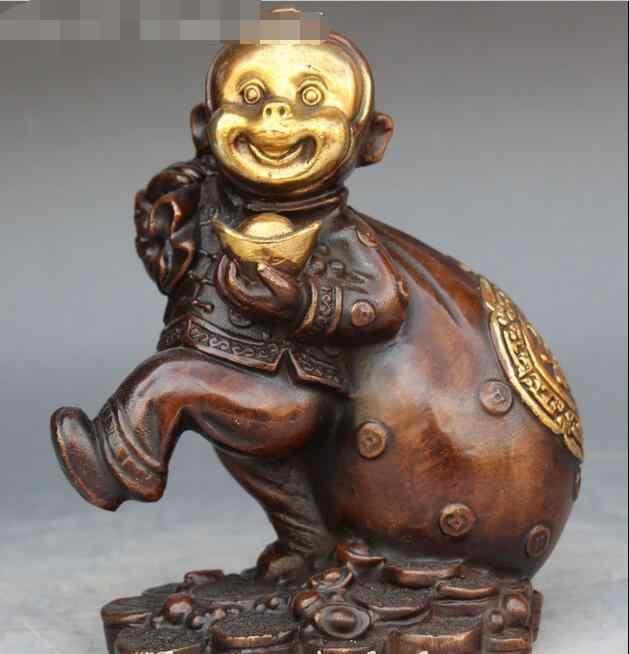 """Livre 7 """"China Dourar Bronze Feng shui Bonito Macaco Macacos Segure Yuan Bao Bolsa de Dinheiro Estátua rápido"""