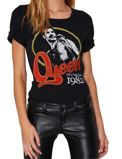 Женщины футболку Darceil женские Черные С Коротким Рукавом Рок-Группы Queen Печати Футболка Топ
