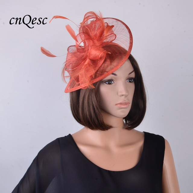 3116d25226ad0 NEW Rusty burnt orange fascinator feather sinamay base hat for  Wedding
