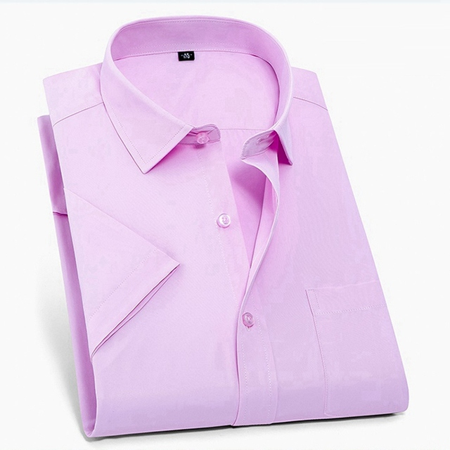 summer larger plus big size 9XL 7XL shirts men 8XL 10XL 14XL work Business Pink short sleeve Dress shirts wedding 11XL 12XL 13XL 5