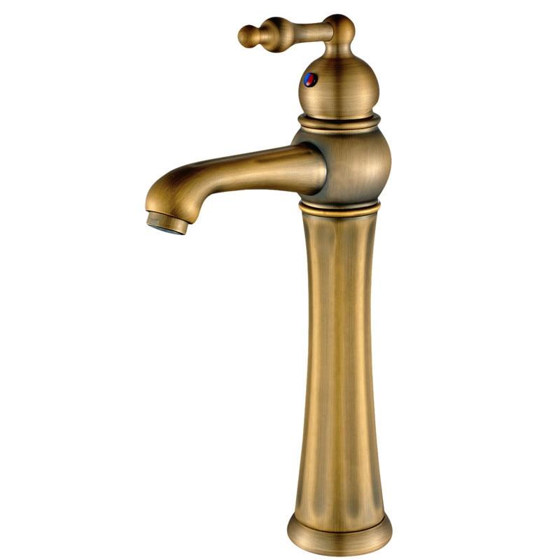 Robinet de lavabo en laiton Antique robinet mitigeur évier robinet chaud et froid mitigeur monotrou pont monté robinet de lavabo