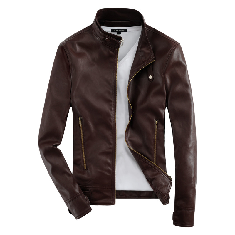 Popular Mens Brown Leather Motorcycle Jacket-Buy Cheap Mens Brown ...