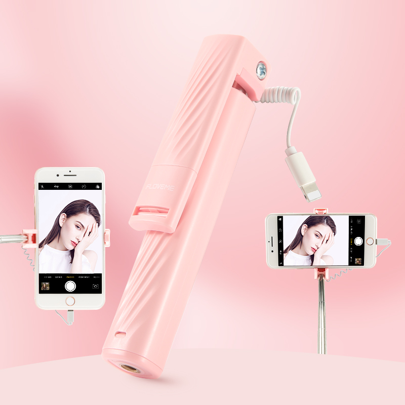Novedoso Pack Mini con conexión de cable Selfie palos para iPhone 7 8 Plus X XR XS MAX de mano Selfie palillo para Smartphone titular monopod SelfieStick