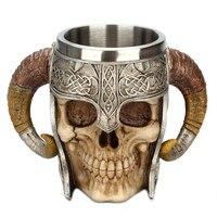 Personalized Goat Horns Handled Helmet Skull Mug Resin Stainless Steel Mighty Drinking Mug Big Drink Water