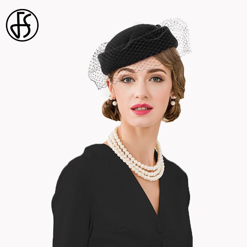 FS 2019 New Black Fascinator Pillbox Hat For Women Elegant
