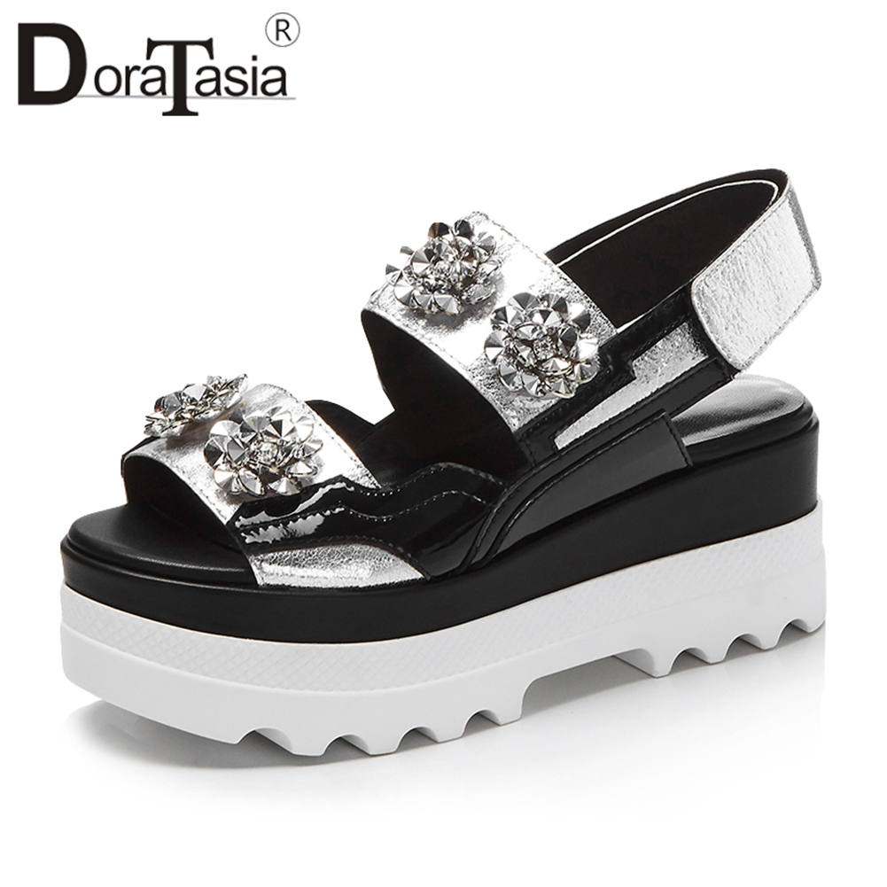 Doratasia 2019 Summer Brand Fashion Genuine Leather Sandals Women Bling Crystal Thick Platform High Wedges Casual