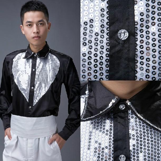 Envío gratis! hombre muestran plata brillante pieza de luz en forma de corazón de noche de la camisa Cabaret actividades presidió camisa de manga larga