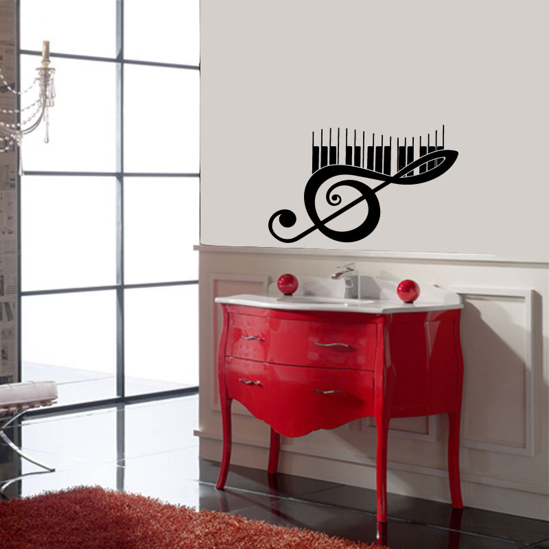 Piano Music Note Wall Decals Vinyl Removable Art Murals Creative Wall Stickers Home Decor Living Room