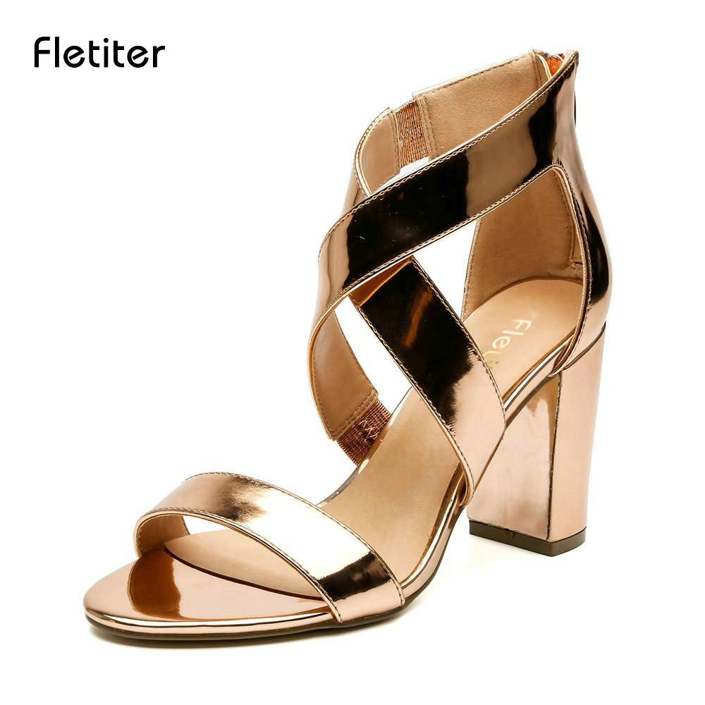 Fletiter Desiger Womens Bridesmaid Bridal Wedding Pumps Strappy Open Toe Sandals Women Shoes Heels Cross Sexy Roman Shoes Women new vogue celebrity brand desiger women sandals stiletto feather hairy buckle strap high heels bridesmaid bridal wedding pumps