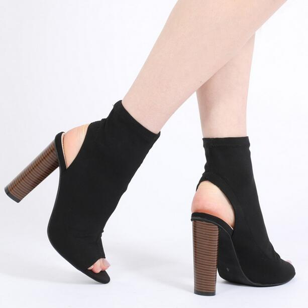 Hot Selling Green Stretch Leather Sock Ankle Boots Open Toe Thick Heel Slip-on Gladiator Sandals Boots For Women Size 36-41