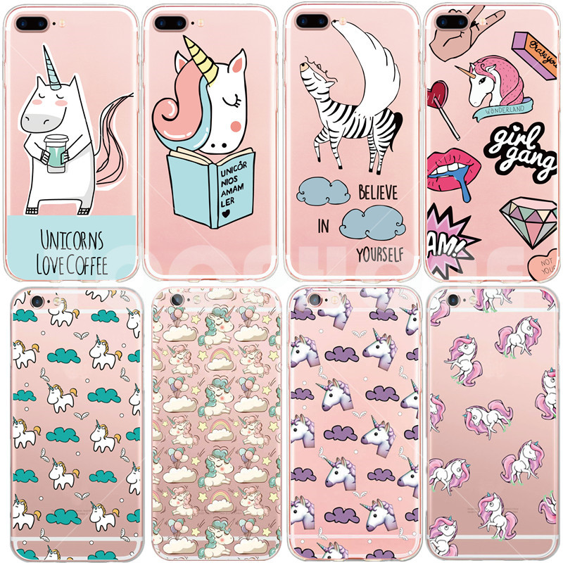Transparent Soft Unicorn Angel Horse Pattern Cell Phone Case For iphone 5 5s 6 6s 7