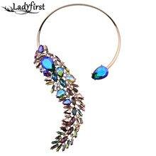Ladyfirst 2016 de Bohemia Cuentas de Cristal de Lujo Manguito Maxi Boda Joyería Declaración collar de Gargantilla Collar de Las Mujeres multicolores 3735