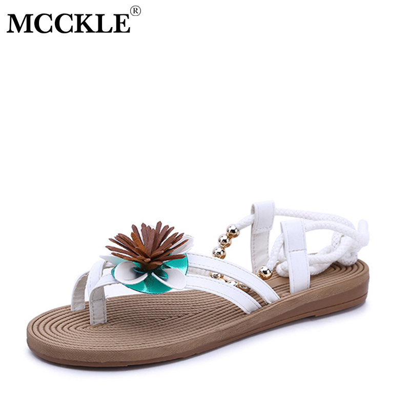 MCCKLE Women Bohemia Sandals Female String Bead Ankle Strap Flip Flops Floral Shoes Ladies Solid Flats For Woman Footwear 2017 women sandals new fashion bohemia style ankle strap flip flops summer flat shoes woman ladies shoes sandalias mujer d35m4