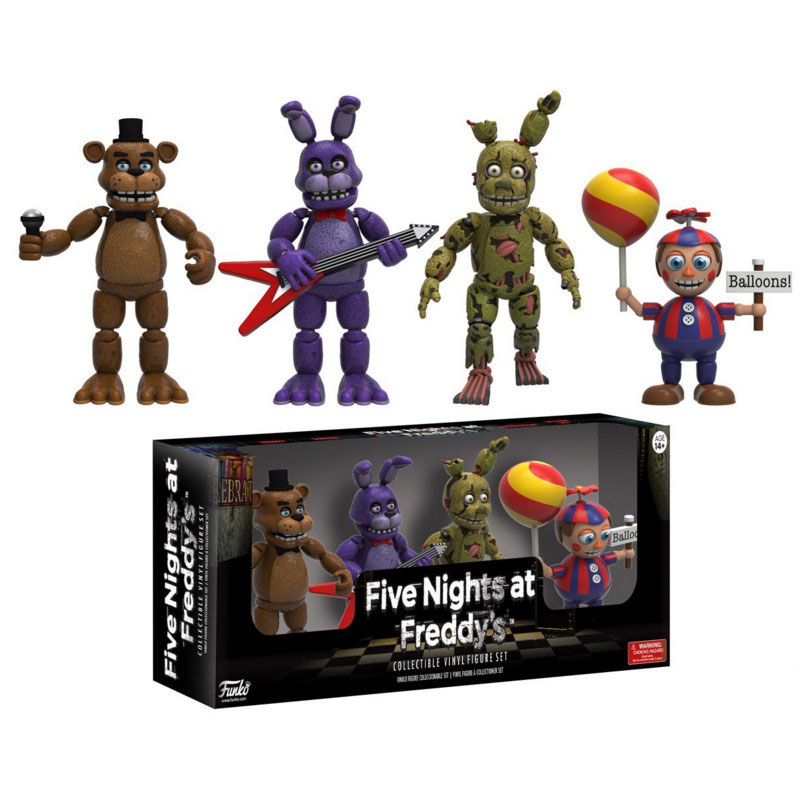 FNAF 4 Pcs  Five Nights At Freddy's Bonnie Foxy Freddy Fazbear Bear Night Freddy Toys Action Figure The Best New Year's Gift wholesale five nights at freddy s 4 fnaf freddy fazbear bear foxy plush toys doll kids birthday gift