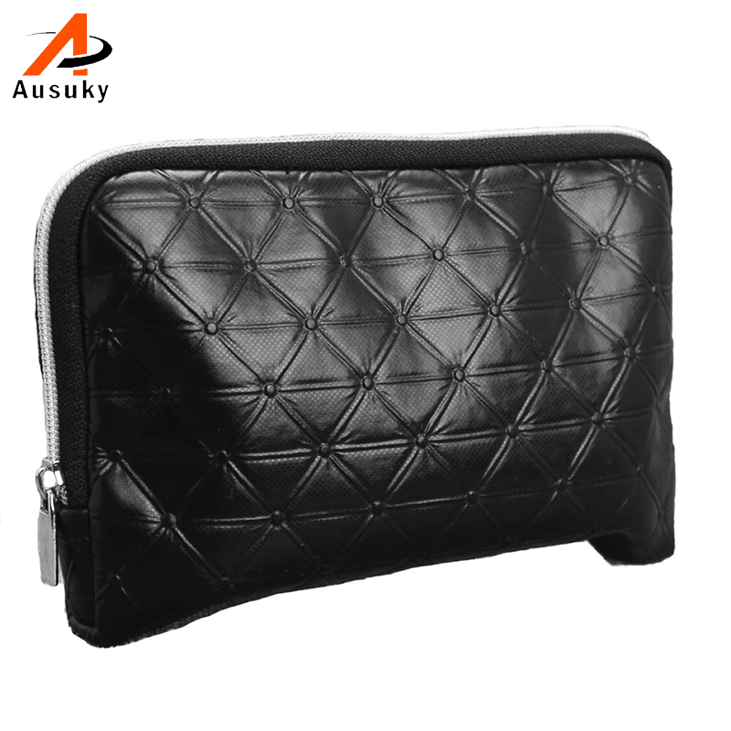цена на New Pu leather cosmetic bag black color women make up bag Casual plaid pattern waterproof toiletry bag neceser maquillaje#15