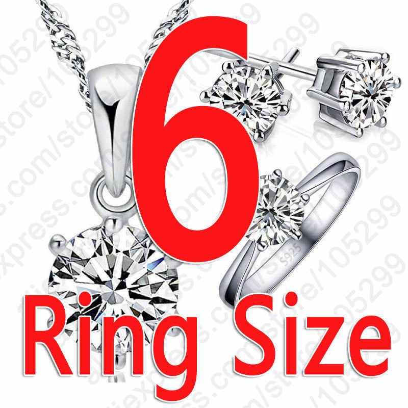 Hot Frau Geburtstag Geschenk Hochzeit Schmuck Set Fashion Solid 925 Sterling Silber Kristall Halskette Ring Ohrring 3 teile/sätze