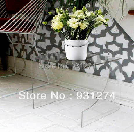 Crystal Modern Acrylic Plant Pot Table,Lucite Coffee Table ,Perspex  Side Pedestal Corner Tables, hot sale c shaped waterfall acrylic occasional side table