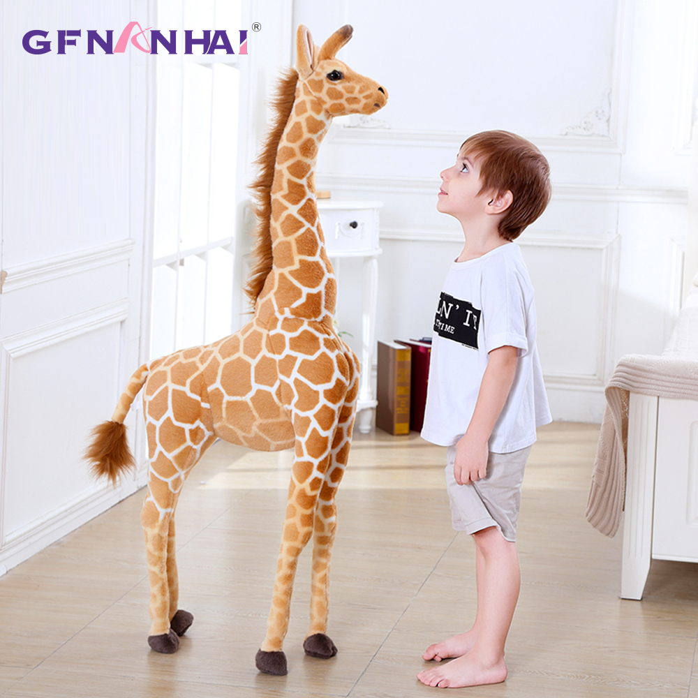 60-120CM Giant Size Simulation Giraffe Plush Toys Cute Stuffed Animal Soft Real Life Giraffe Doll Birthday Gift For Kids Toy