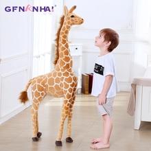 60 120CM géant taille Simulation girafe en peluche jouets mignon en peluche Animal doux vraie vie girafe poupée cadeau danniversaire pour enfants jouet